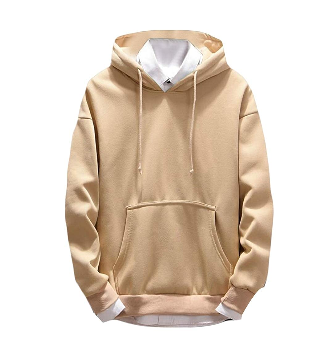 Generic Mens Casual Tops Sport Solid Hoodie Long Sleeve Pullover Sweatshirts