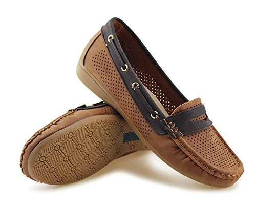 Brown Classic Moccasins Shoes Driver Boat Loafers Flats Jabasic Women Tie On Slip pwqTPP