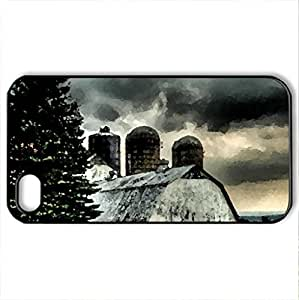 beautiful barn under stormy skies hdr - Case Cover for iPhone 4 and 4s (Farms Series, Watercolor style, Black)