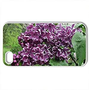 Spring Purple Blooms - Case Cover for iPhone 4 and 4s (Flowers Series, Watercolor style, White)