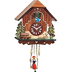 Black Forest Chalet Evergreen Miniature 6 x 7 Inch Wood Wall Hanging Cuckoo Clock
