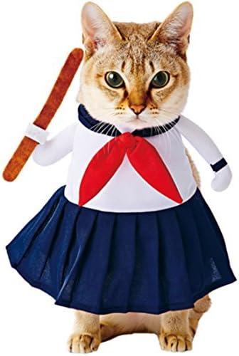 DealMux Petio Mujer autorizada Secundaria Vestido de Gato del Estilo Uniformes/Azul y Negro: Amazon.es: Productos para mascotas