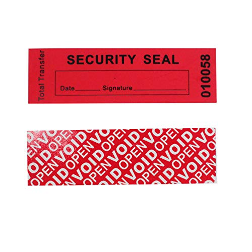 Tamper Proof Security Seals - 100 Total Transfer Tamper Evident Security Warranty Void Stickers/Labels/Seals (Red 1