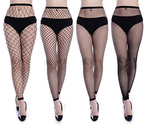 Frola Women's High Waist Sexy Tights Fishnet Stockings Thigh High Stockings Pantyhose (One Size, 4 Pairs Black Fishnet Leggings)]()