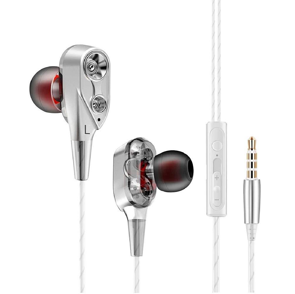 Auriculares compatibles con Xiaomi Mi A2 con microfono dual dynamic drivers in-ear estereo control volumen cancelacion ruido (Inox)