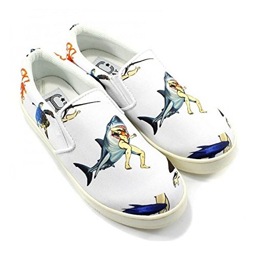 JC PLAY BY JEFFREY CAMPBELL SLIP ON SHARK WHITE