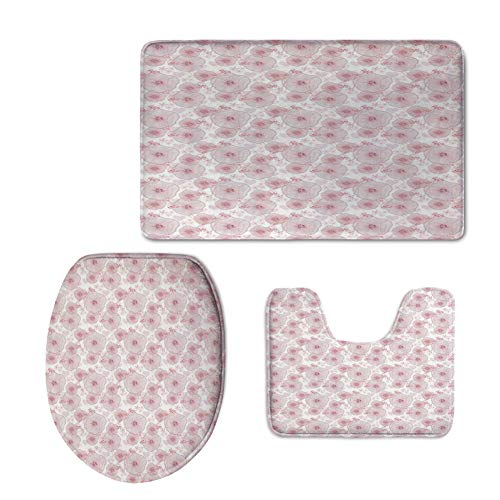 Winnie Carpet Pooh The (iPrint Toilet Carpet Floor mat,Abstract,Pale Toned Water Lilies Dotted Heart Design Valentines Day Inspired Image,Dried Rose White,3 Piece Shower Mat Set)