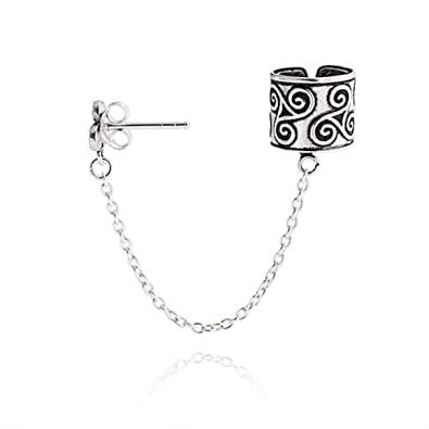Bling Jewelry Celtic Triquetra Chain One Piece Sterling Silver Ear Cuff OrUEugK