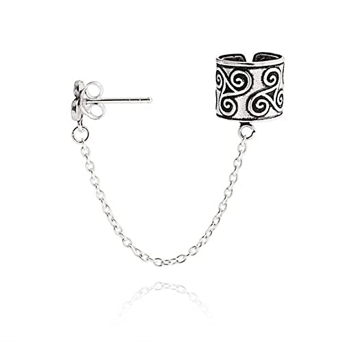 7724b0142 Celtic Irish Trinity Triskele Ear Cuff Chain Pierced Ear Stud Earrings For  Men Women 1Pcs Oxidized 925 Sterling Silver