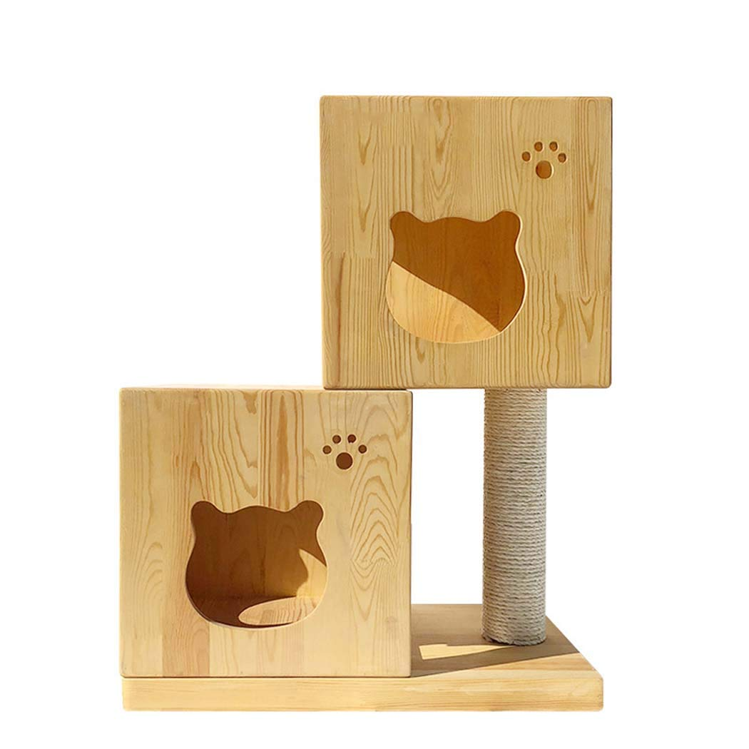 Woodcolor Cat Tree for Big Cats, Busy Cat, Cat Tree Made of Solid Wood Pine, Modern Furniture Design,Also Suitable for Kitten,Woodcolor