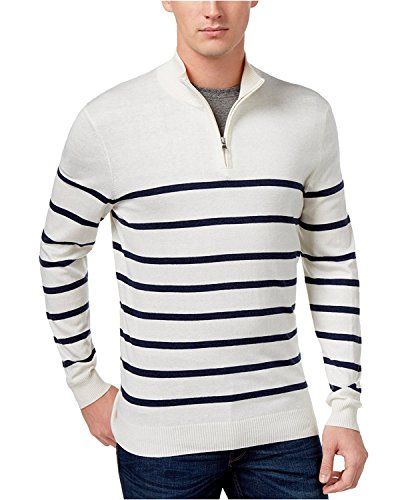 Club Room Mens Striped Knit Pullover Sweater White L ()