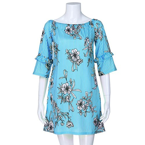 Flurries Women Dress, Fashion Women Ladies Three Quarter Sleeve Printing Casual Tops T-Shirt Loose Top Blouse (XL, Blue) by Flurries