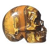 """Mineralbiz 1.3"""" - 1.5"""" Natural Yellow Tiger Eye Hand Carved Crystal Skull, Human Skull Head, Pocket Skull, Skull Carving, Crystal Gemstone Healing Reiki"""