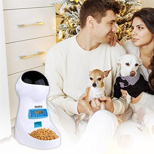 Iseebiz Automatic Cat Feeder 3L Pet Food Dispenser Feeder for Medium & Large Cat Dog--4 Meal, Voice Recorder & Timer Programmable, Portion Control