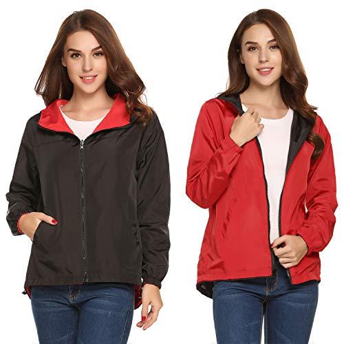 UNibelle Women's Travel Waterproof Raincoat Hoodie Windproof Hiking Coat Packable Rain(Black Red,Medium)