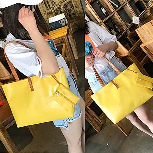 Hexingshan Yellow Bag Roomy Shoulder Bag Space Large Casual Buckle Belt rTqPwxtzr