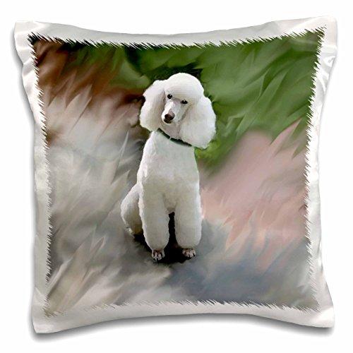 - 3dRose White Poodle-Pillow Case, 16-inch (pc_4028_1)