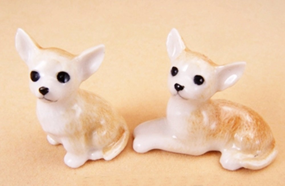 Dollhouse Miniatures Ceramic Chihuahua S FIGURINE Animals Decor by ChangThai Design