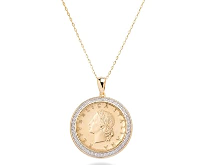 62716268ada6be Image Unavailable. Image not available for. Color: MiaBella 18K Gold Over 925  Sterling Silver Diamond Accent Genuine Italian 20 Lira Coin Pendant Necklace