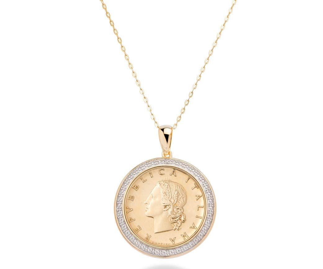 MiaBella 18K Gold Over 925 Sterling Silver Diamond Accent Genuine Italian 20 Lira Coin Pendant Necklace for Women 18'' Chain