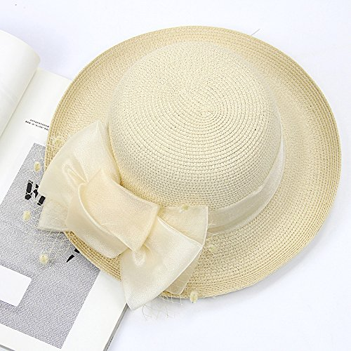 Travel Beige Paja Hat Femenina grey Gaoqq De Bowknot Summer Hat Sombrero Beach g8aT4Owqx