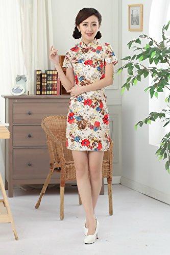 YueLian Qipao Floreali Stampati Vestito Mini a Maniche Corto
