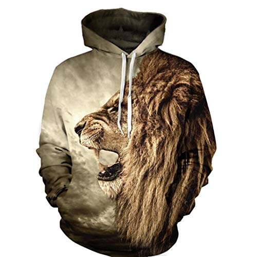 unbrand New Lovers wear Full Body Print Hoodie Size Lion Print Domineering (L) -