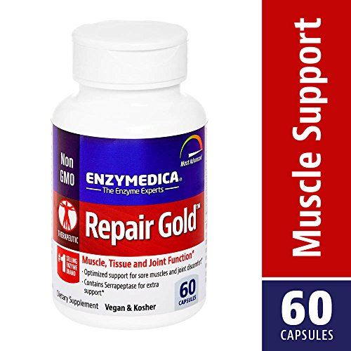 Enzymedica, Repair Gold, Enzyme Supplement to Support Healthy Muscles, Tissues and Joints, Vegan, Kosher, 60 capsules (30 servings)