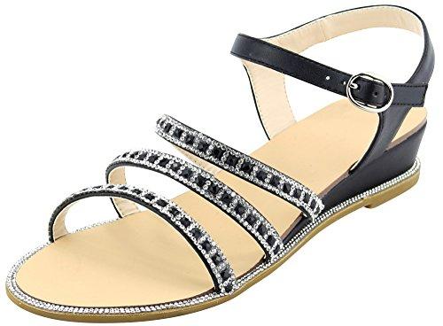 Cambridge Select Dames Open Teen Gesp Enkel Strappy Glitter Kristal Strass Lage Wig Sandaal Zwart