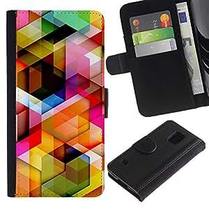 KLONGSHOP / Tirón de la caja Cartera de cuero con ranuras para tarjetas - 3D Polygon Pattern Maze Dimensional - Samsung Galaxy S5 V SM-G900
