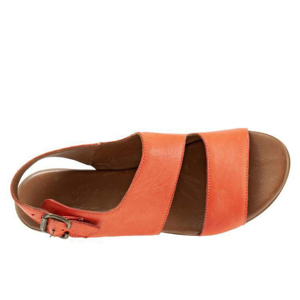 Thenxin Summer Women's Flat Sandal Retro Buckle-Strap Casual Peeptoe Flip Flop Roman Shoes (Orange,5 US) by Thenxin (Image #4)