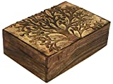 decorative wooden boxes SAAGA Multipurpose Decorative Wooden Jewelry Trinket Holder Keepsake Storage Box with Tree of Life Carving/Handmade : 10x7 inches (LxB)