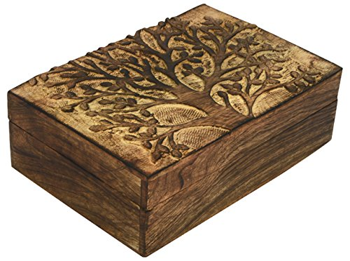 SAAGA Multipurpose Decorative Wooden Jewelry Trinket Holder Keepsake Storage Box with Tree of Life Carving/Handmade : 10x7 inches (LxB) ()