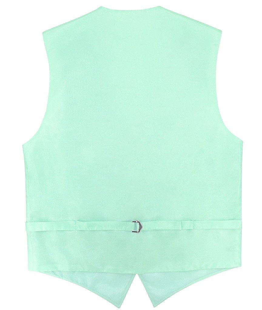 Mens Slim FIT Dress Vest Bowtie Solid Aqua Green Bow Tie Handkerchief Set