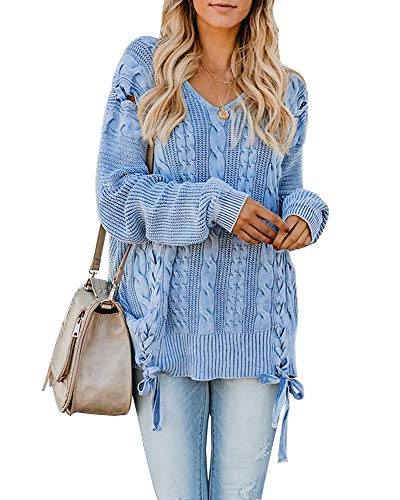 Rotita Women Sweaters Oversized Cable Knit Pullover Plus Size V Neck Lace Up Jumper Tops