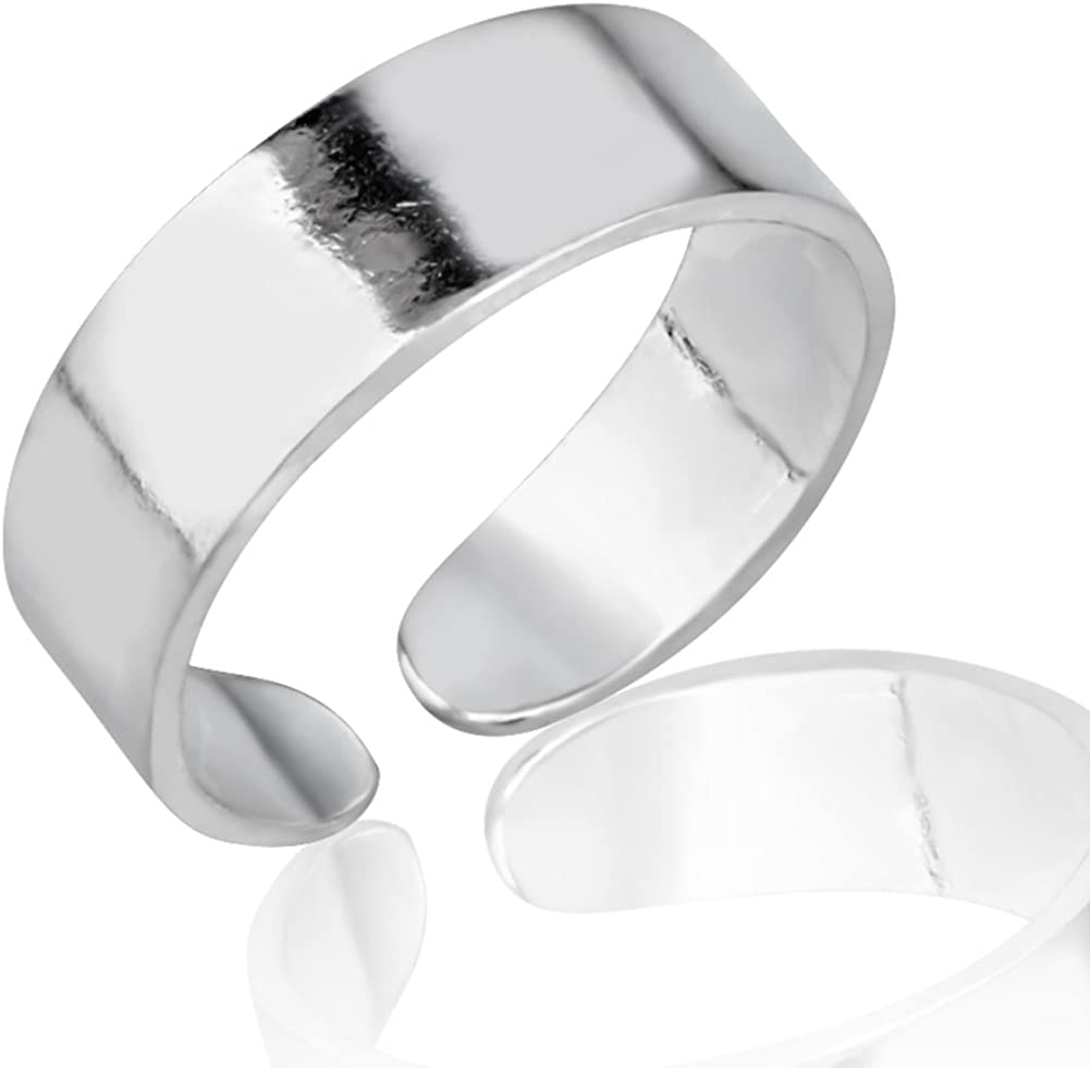 925 Sterling Silver Simple Classic Minimalist Wide Band Unisex Open Ended Band Toe Ring, 5mm
