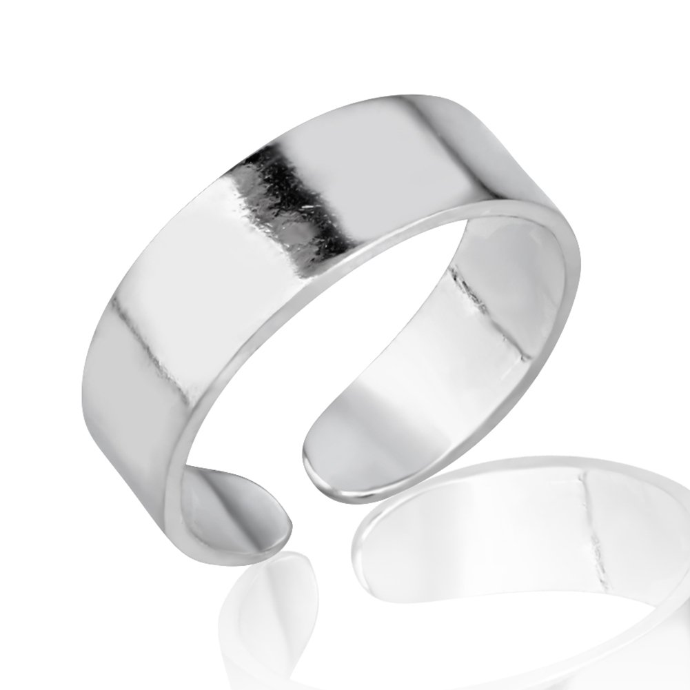 925 Sterling Silver Simple Classic Minimalist Wide Band Unisex Open Ended Band Toe Ring 5mm