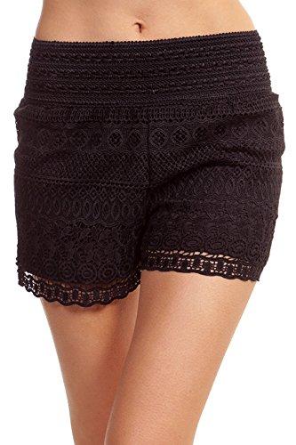 ToBeInStyle+Women%27s+Cross-Over+Lace+Shorts+-+Black+-+Medium