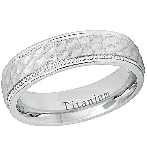 Hammered Finish Titanium Wedding Ring, Milgrain Edge Titanium Ring, Comfort Fit Titanium Anniversary Band, 6mm White Titanium Ring - s7