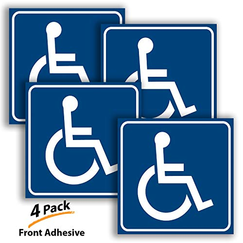 Handicap Stickers Decal- 4 Pack, 3x3 inch - Front Adhesive to Apply Inside The Glass ONLY - Disable Wheelchair Sign, Disability Sticker, Premium Vinyl for applying Inside The Window or Glass Door.