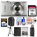 Canon PowerShot Elph 180 Digital Camera (Silver) with 32GB Card + Case + Battery + Tripod + Kit For Sale
