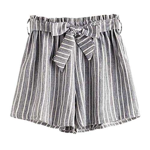 JOFOW Womens Shorts Vertical Striped Cotton Linen Mini Pants Strappy Drawstring Tie Casual High Waist Loose A Line Trousers (2XL,Light Gray) ()