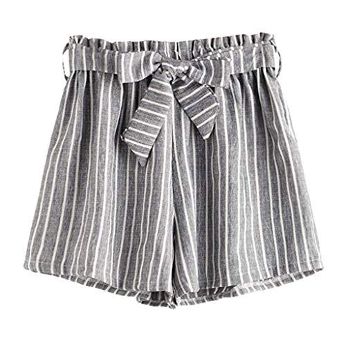 Pervobs Summer Women's Super Comfy Pinstriped Elastic Waist Self Tie Belt Shorts Loose Shorts Pants Pantalones Cortos(M, Gray)