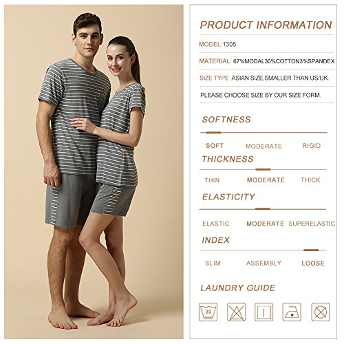 QIANXIU Men's Summer Short Sleeve Pajamas Casual Striped Shorts & Shirt PJ Set, Grey, Large by QIANXIU (Image #4)