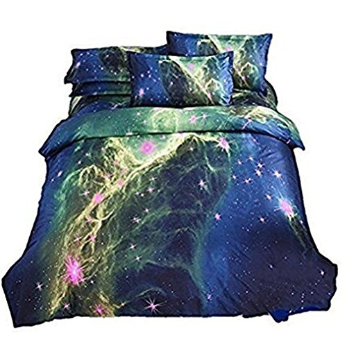 Ikakon 3 in1 3D Print Galaxy Floral Twin Bedding Sets- Duvet Cover, Outer Space Sheets with 1 Pillow Case (Style3)