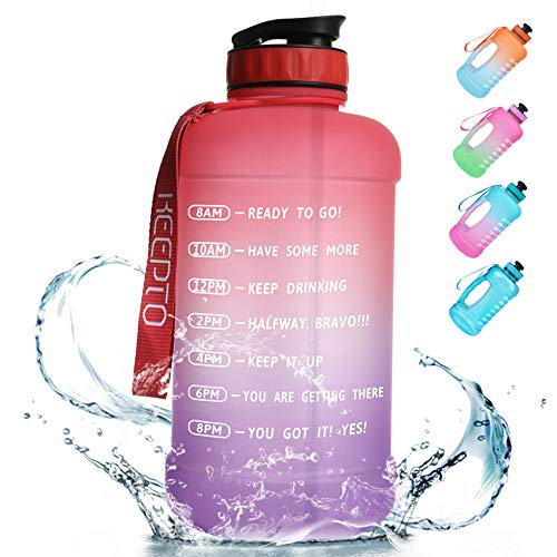 🥇 KEEPTO Half Gallon/64oz Leakproof BPA Free Water Bottle with Motivational Time Marker