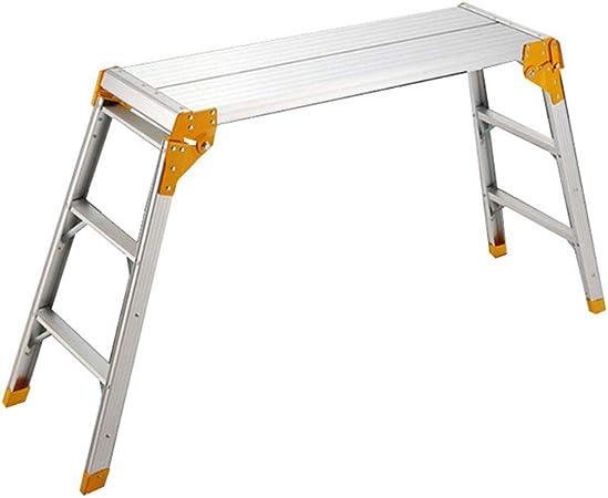 SXXDERTY Plataforma de Trabajo Plegable con Taburete y Banco de Trabajo Escalera de Trabajo de Aluminio con Bloqueo Seguro: Amazon.es: Hogar