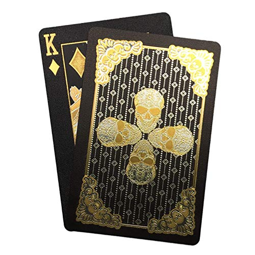 Kxlody Playing Cards ,Skull Design Black Gold Foil Plastic Poker Cards Waterproof Deck of Cards with Gift Box,Suitable for Party Games and Entertainment (Black)