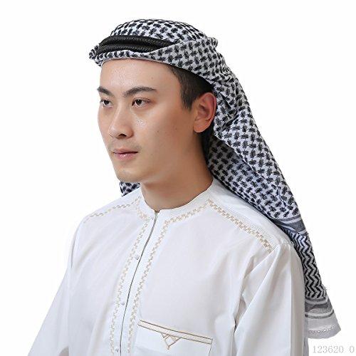 ieasysexy Muslim Male Headscarf Wrapped Head Saudi Arabian Headscarf Dubai UAE Travel Headscarf Headband (Black) by ieasysexy
