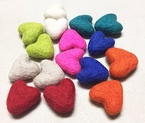 Sculpted Heart - Yarn Place Felt Wool Felted Sculpted Hearts 16 Piece 8 Color 30mm (Joy Hearts)